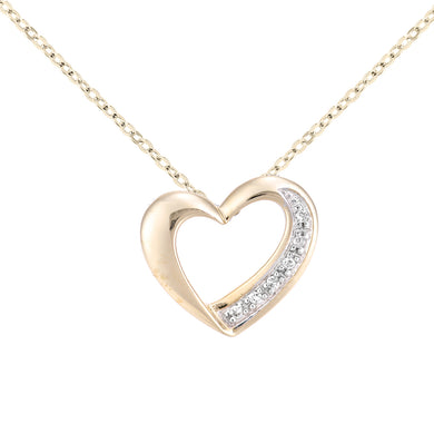 9ct Yellow Gold Diamond Heart Pendant and Chain of Length 46cm