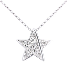 Load image into Gallery viewer, 18ct White Gold Diamond Star Pendant Necklace of Length 46cm