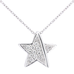 18ct White Gold Diamond Star Pendant Necklace of Length 46cm