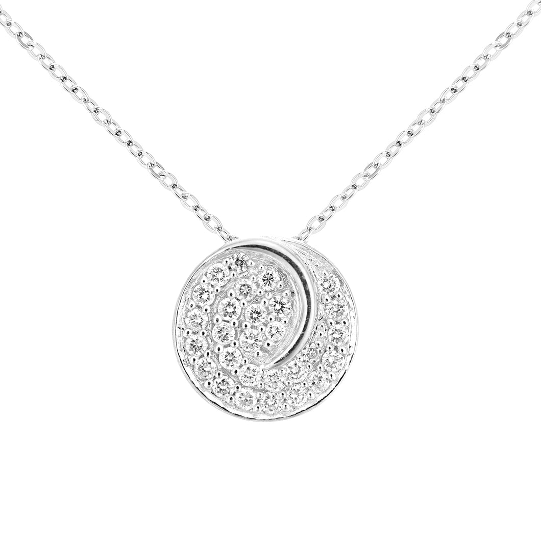 18ct White Gold Diamond Circle Cluster Design Pendant Necklace of Length 46cm