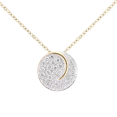 18ct Yellow Gold Diamond Circle Cluster Design Pendant Necklace of Length 46cm