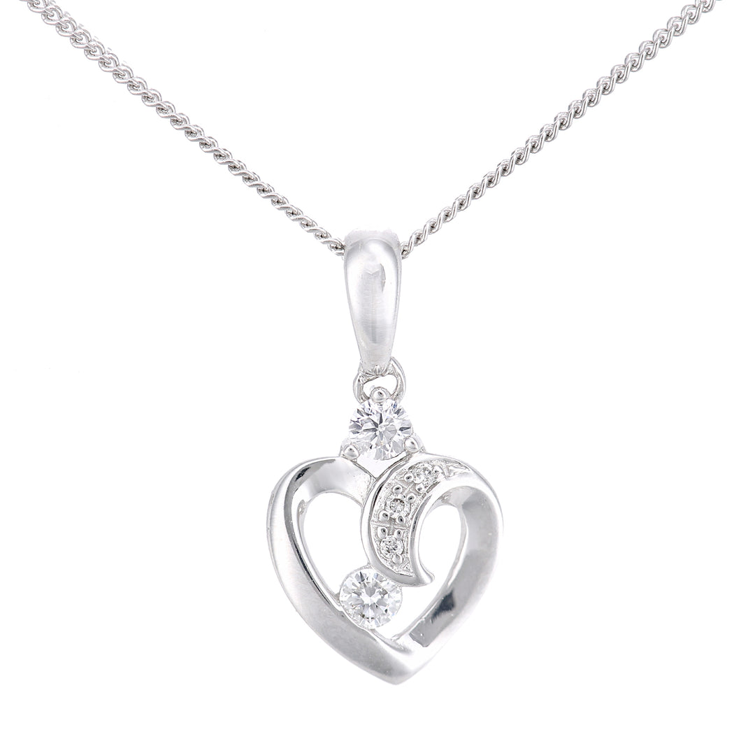 18ct White Gold Diamond Heart Pendant Necklace of Length 46cm