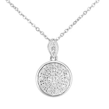 Load image into Gallery viewer, 9ct White Gold Diamond Circle Drop Design Pendant Necklace of Length 46cm
