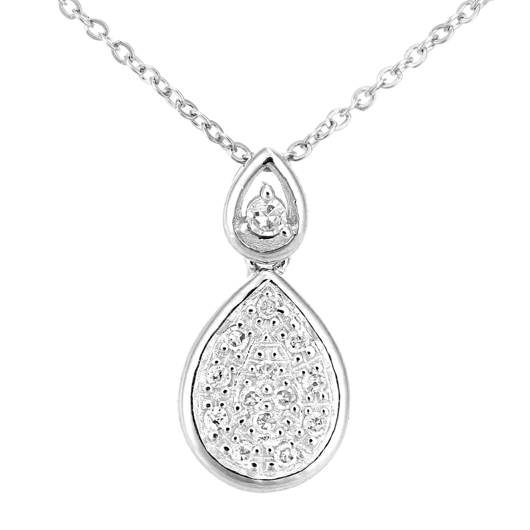 9ct White Gold Diamond Teardrop Drop Pendant Necklace of Length 46cm