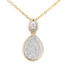Load image into Gallery viewer, 9ct Yellow Gold Diamond Teardrop Drop Pendant Necklace of Length 46cm