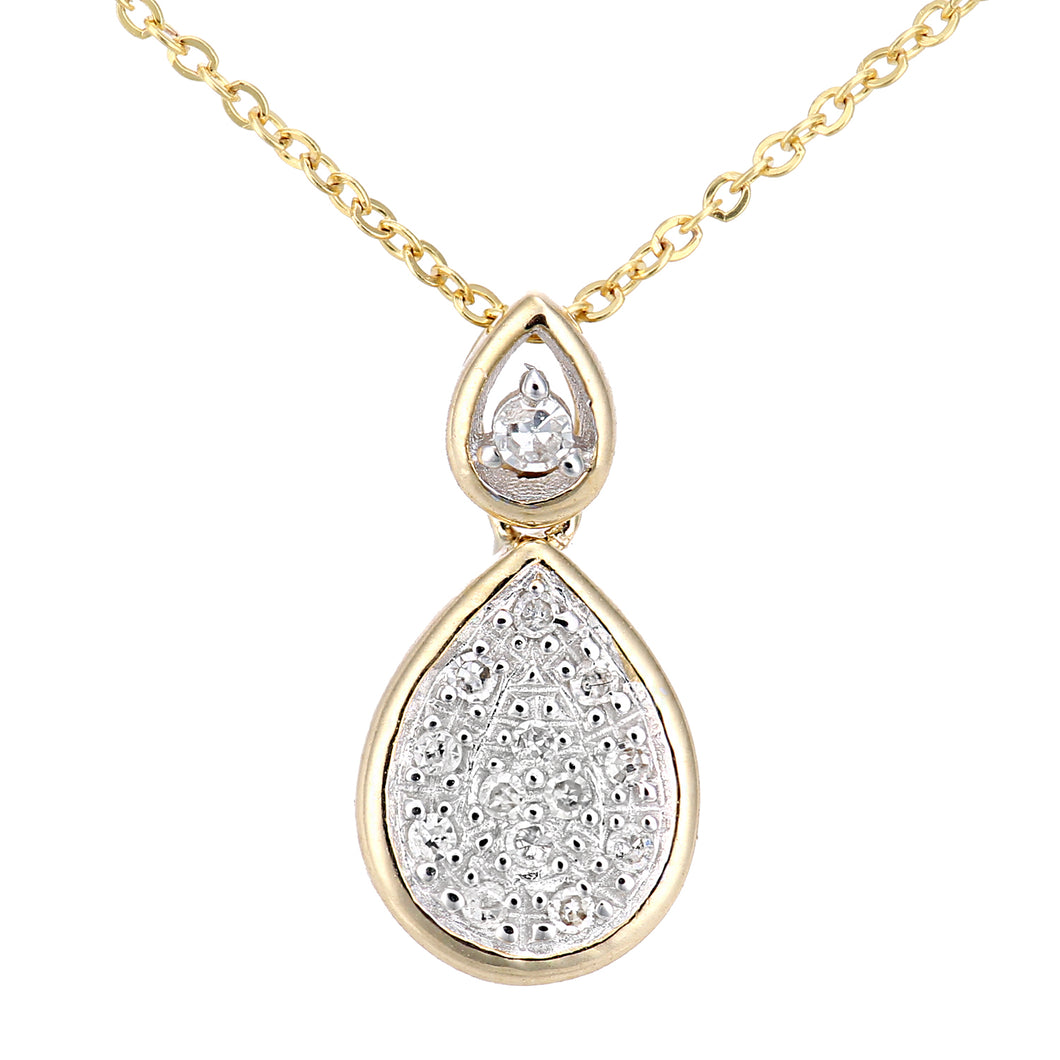 9ct Yellow Gold Diamond Teardrop Drop Pendant Necklace of Length 46cm