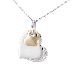 9ct Yellow and White Gold Diamond Hearts Charm Pendant Necklace of Length 46cm
