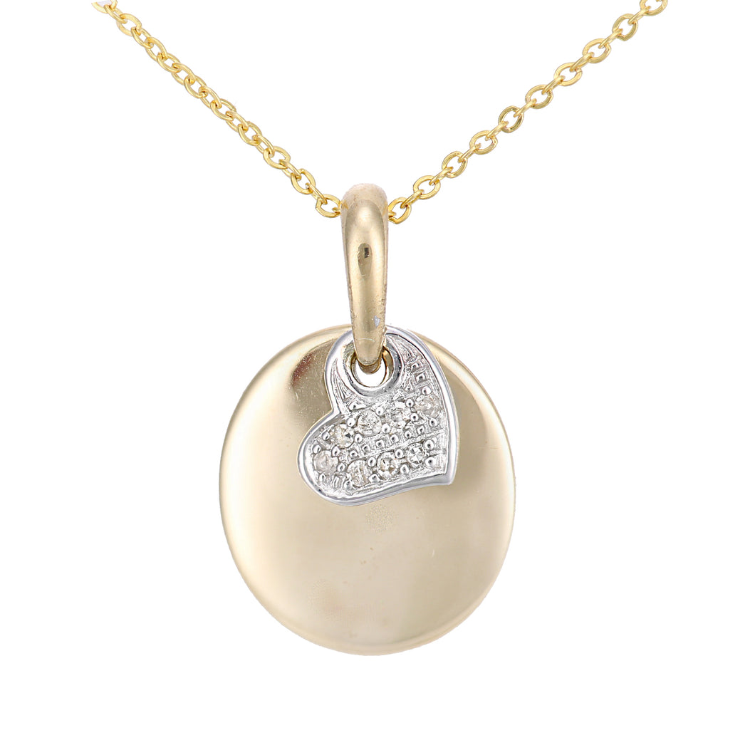 9ct Yellow and White Gold Diamond Heart Charm Pendant Necklace of Length 46cm