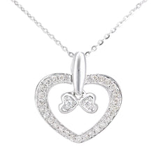 Load image into Gallery viewer, 9ct White Gold Diamond Bow Charm Heart Pendant Necklace of Length 46cm