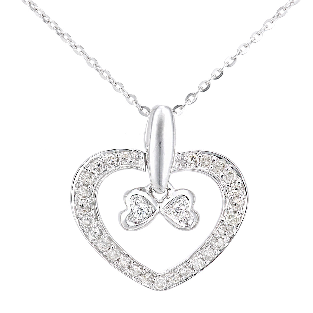 9ct White Gold Diamond Bow Charm Heart Pendant Necklace of Length 46cm