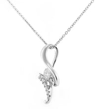 Load image into Gallery viewer, 9ct White Gold Diamond Twist Design Pendant Necklace of Length 46cm