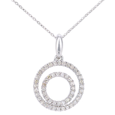 9ct White Gold Diamond Circle Design Pendant Necklace of Length 46cm