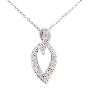 9ct White Gold Diamond Teardrop Pendant and Chain of Length 46cm