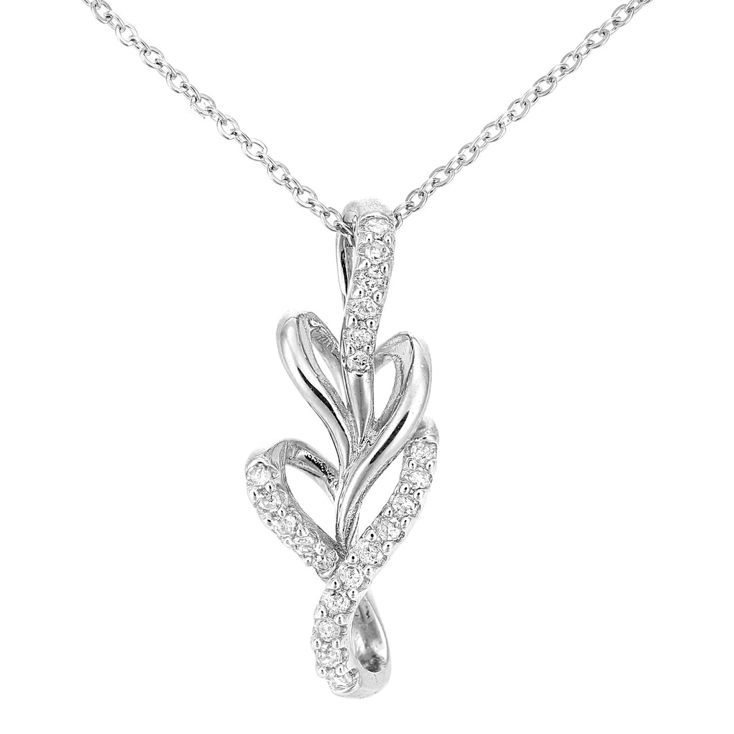 9ct White Gold Diamond Leaf Design Pendant Necklace of Length 46cm