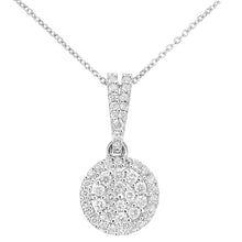Load image into Gallery viewer, 9ct White Gold Diamond Cluster Setting Pendant Necklace of Length 46cm