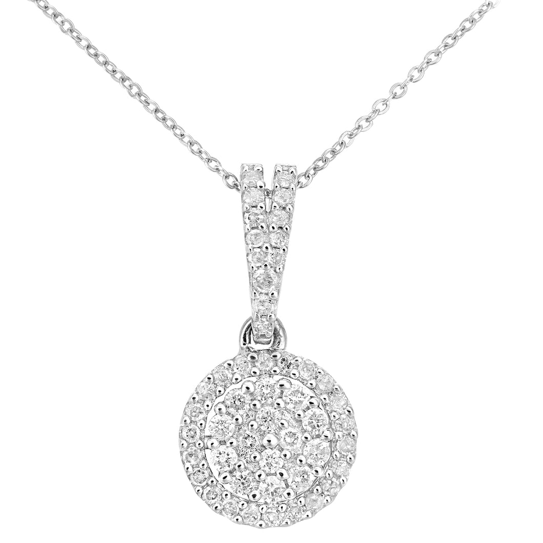 9ct White Gold Diamond Cluster Setting Pendant Necklace of Length 46cm