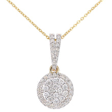Load image into Gallery viewer, 9ct Yellow Gold Diamond Cluster Setting Pendant Necklace of Length 46cm