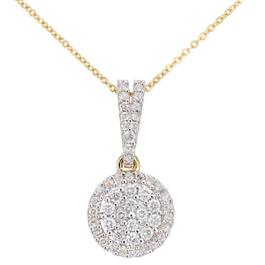 9ct Yellow Gold Diamond Cluster Setting Pendant Necklace of Length 46cm