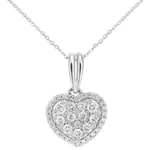 9ct White Gold Diamond Cluster Heart Pendant Necklace of Length 46cm
