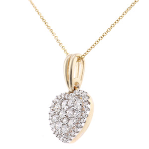 9ct Yellow Gold Diamond Cluster Heart Pendant Necklace of Length 46cm