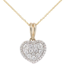 Load image into Gallery viewer, 9ct Yellow Gold Diamond Cluster Heart Pendant Necklace of Length 46cm