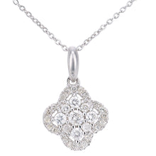 Load image into Gallery viewer, 9ct White Gold Diamond Flower Cluster Design Pendant Necklace of Length 46cm