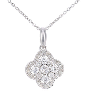 9ct White Gold Diamond Flower Cluster Design Pendant Necklace of Length 46cm