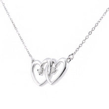 Load image into Gallery viewer, 9ct White Gold Diamond Linked Heart Necklet of Length 42cm