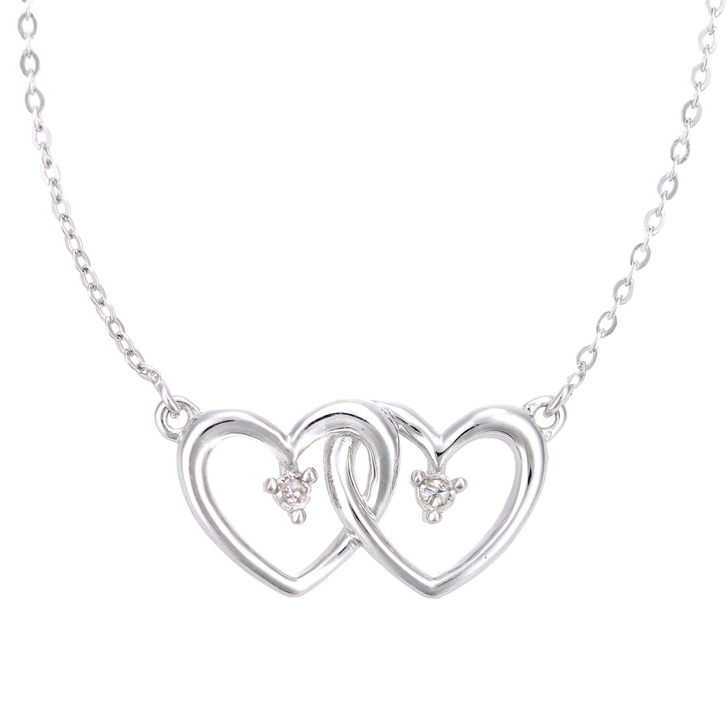 9ct White Gold Diamond Linked Heart Necklet of Length 42cm
