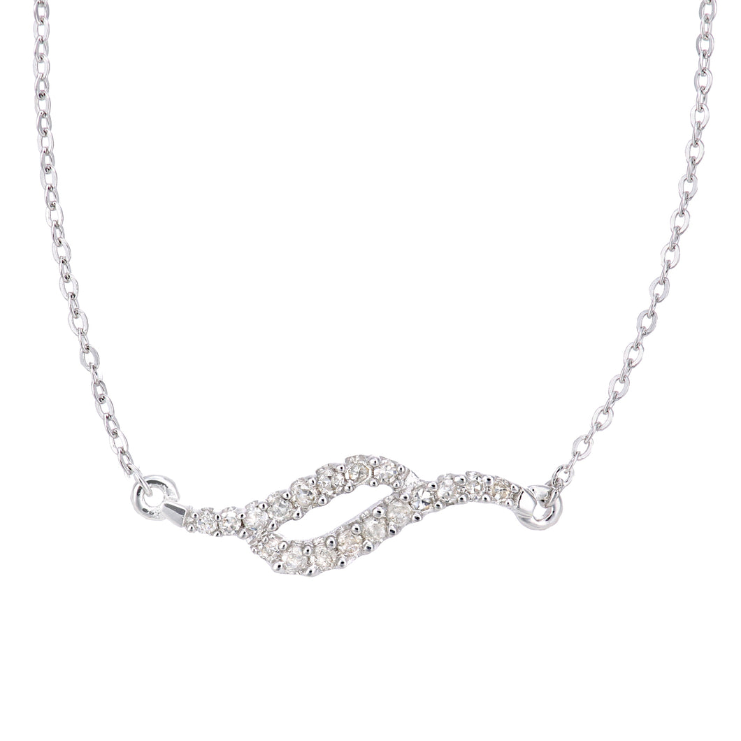 9ct White Gold Diamond Swirl Design Necklet of Length 42cm