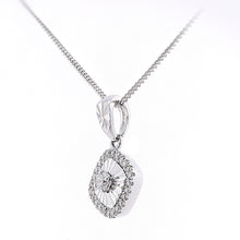 Load image into Gallery viewer, 18ct White Gold Diamond Cut Square Pendant Necklace of Length 46cm