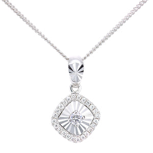 18ct White Gold Diamond Cut Square Pendant Necklace of Length 46cm