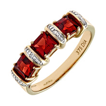 Load image into Gallery viewer, 9ct Yellow Gold Diamond and Red Garnet Eternity Ladies Ring