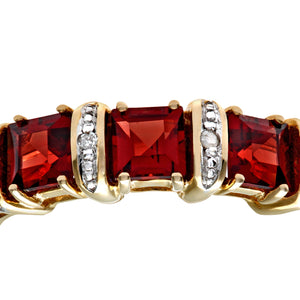 9ct Yellow Gold Diamond and Red Garnet Eternity Ladies Ring