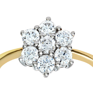 9ct Yellow Gold Cubic Zirconia Cluster Ladies Ring