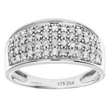 Load image into Gallery viewer, 9ct White Gold Half Carat Diamond Multi Row Eternity Ring