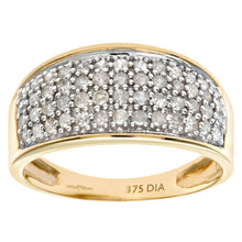 Load image into Gallery viewer, 9ct Yellow Gold Half Carat Diamond Multi Row Eternity Ring
