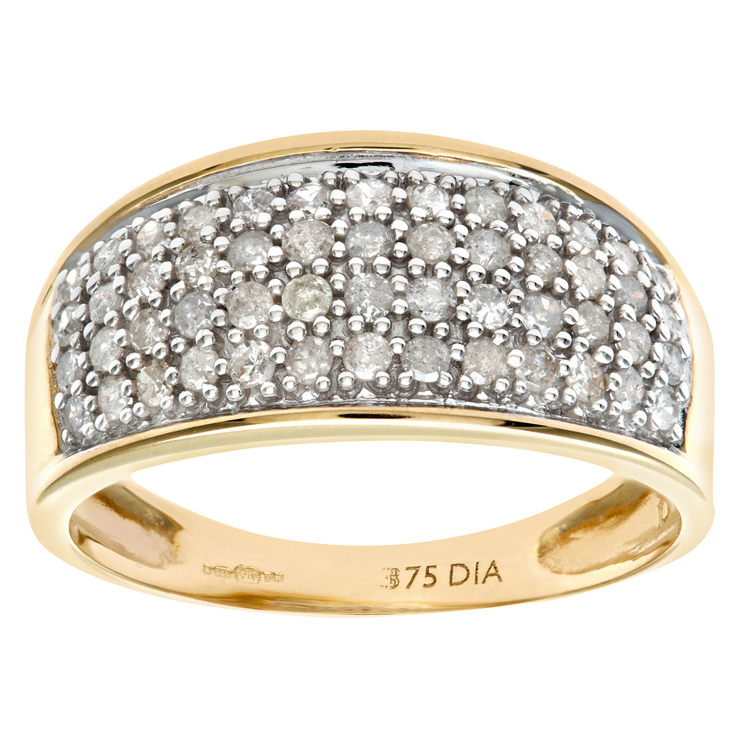 9ct Yellow Gold Half Carat Diamond Multi Row Eternity Ring