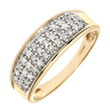 Load image into Gallery viewer, 9ct Yellow Gold One Third Carat Diamond Multi Row Eternity Ring
