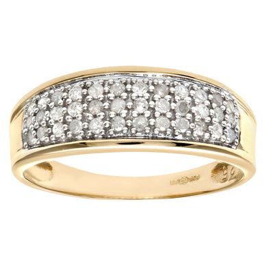 9ct Yellow Gold One Third Carat Diamond Multi Row Eternity Ring