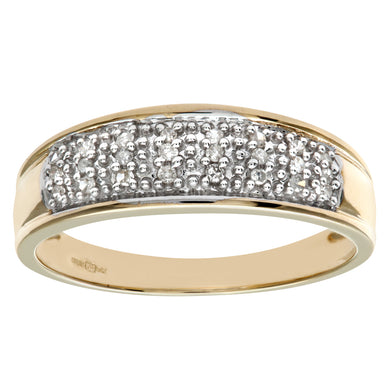 9ct Yellow Gold 0.10ct Diamond Multi Row Eternity Ring