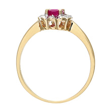 Load image into Gallery viewer, 9ct Yellow Gold Diamond and Ruby Cluster Ladies Ring
