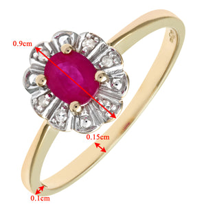 9ct Yellow Gold Diamond and Ruby Cluster Ladies Ring