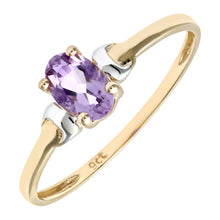 Load image into Gallery viewer, 9ct Yellow and White Gold Ladies Amethyst Birth Stone Ring