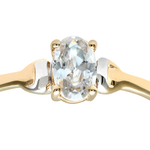 9ct Yellow and White Gold Ladies Cubic Zirconia Birth Stone Ring