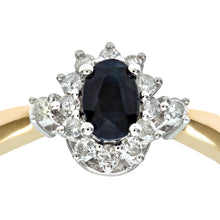 Load image into Gallery viewer, 9ct Yellow Gold Diamond and Sapphire Cluster Ladies Ring