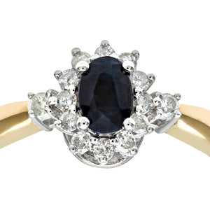 9ct Yellow Gold Diamond and Sapphire Cluster Ladies Ring