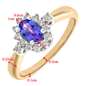 9ct Yellow Gold Tanzanite and Diamond Fancy Cluster Ring