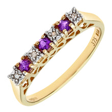 Load image into Gallery viewer, 9ct Yellow Gold Diamond and Amethyst 7 Stone Eternity Ladies Ring