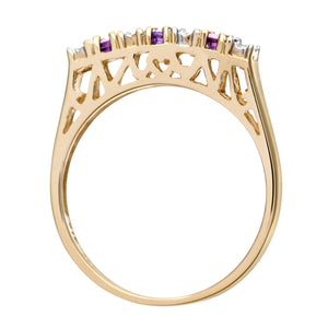 9ct Yellow Gold Diamond and Amethyst 7 Stone Eternity Ladies Ring